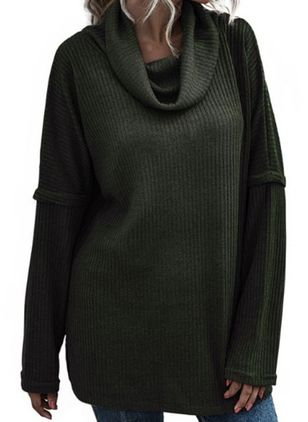 Draped Neckline Solid Casual Loose Regular Shift Sweaters (107251092)