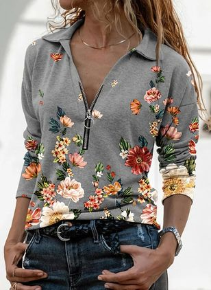 Floral Casual V-Neckline Long Sleeve Blouses (131284968)