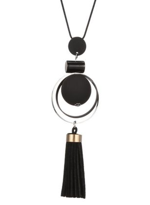 Casual Tassel Round No Stone Pendant Necklaces (1525097)