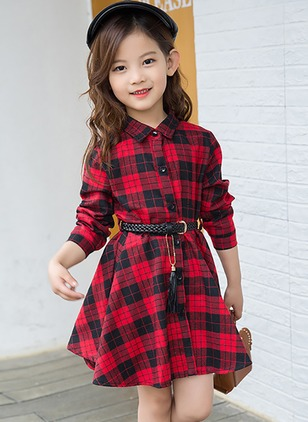 Girls' Plaid Collar Long Sleeve Tops