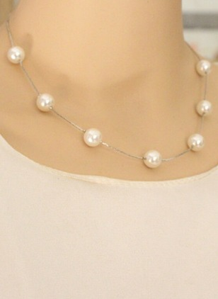 Ball Round Pearls Without Pendant Necklaces