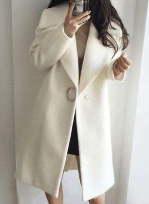 Long Sleeve Lapel Buttons Duffle Coats Coats (127657069)