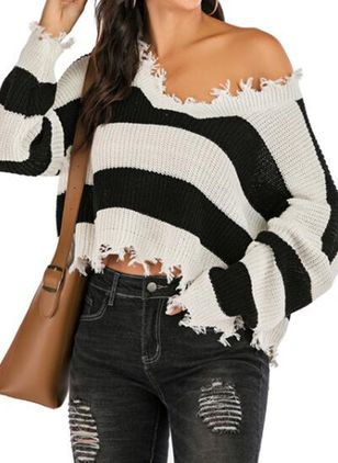 V-Neckline Stripe Casual Loose Short Shift Sweaters (100772605)