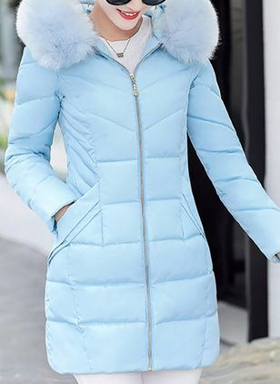 Cotton & Cotton Blend Long Sleeve Collar Zipper Pockets Unremovable Fur Collar Down Coats