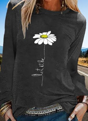 Floral Round Neck Long Sleeve Casual T-shirts (5144618)