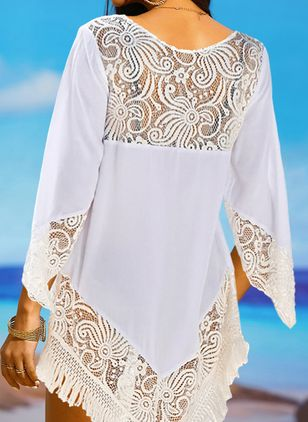 Polyester Solid Cover-Ups Swimwear (147036382)