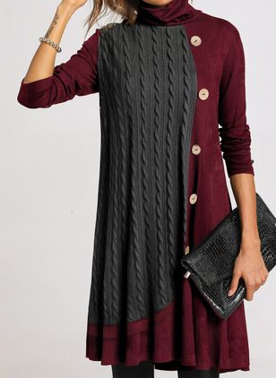 Casual Color Block Sweater High Neckline Shift Dress (1402196)