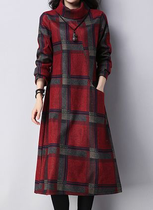 Casual Plaid Tunic High Neckline A-line Dress (111607798)