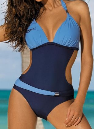 Polyester Halter Color Block One-piece Swimwear (1531160)