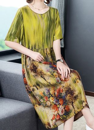 Casual Floral Tunic Round Neckline A-line Dress (101246541)