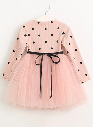 Girls' Sweet Polka Dot Daily Long Sleeve Dresses