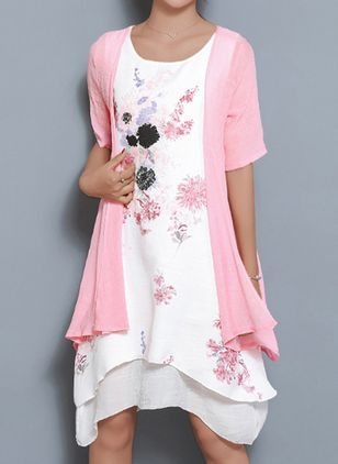 Casual Floral Tunic Round Neckline Shift Dress (5502376)