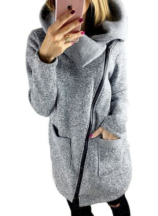 Long Sleeve High Neckline Zipper Coats