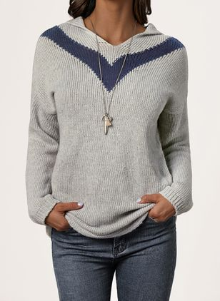 Hooded Solid Casual Regular Shift Sweaters (1420990)