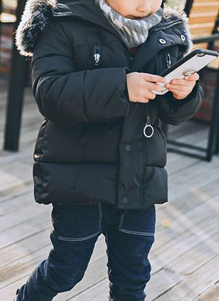 Boys' Casual Color Block Hooded Coats