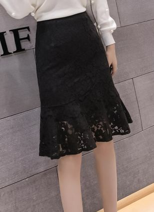 Solid Knee-Length Elegant Lace Skirts