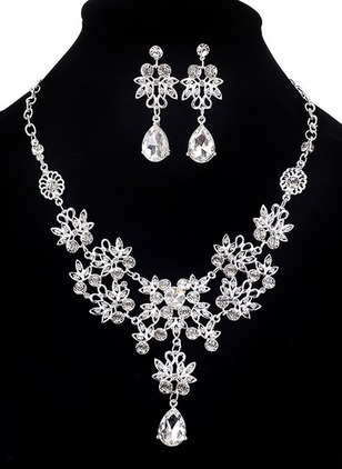 Floral Water Drop Round Crystal Necklace Earring Jewelry Sets