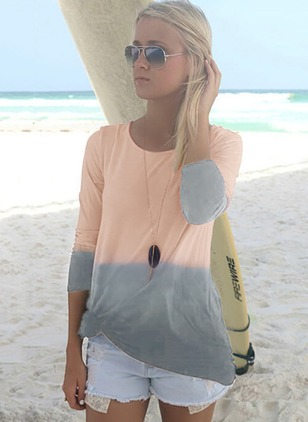 Polyester Color Block Round Neck Long Sleeve Casual T-shirts