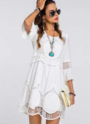 Boho Solid Embroidery Round Neckline Shift Dress (1173748)