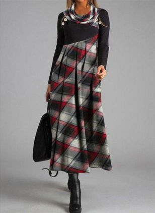 Robes Casual Plaid Manches longues Maxi (108089045)