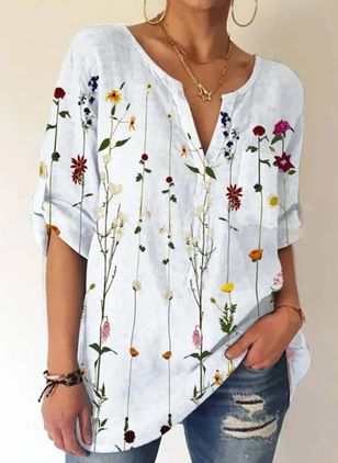 Floral Casual V-Neckline Long Sleeve Blouses (147481352)