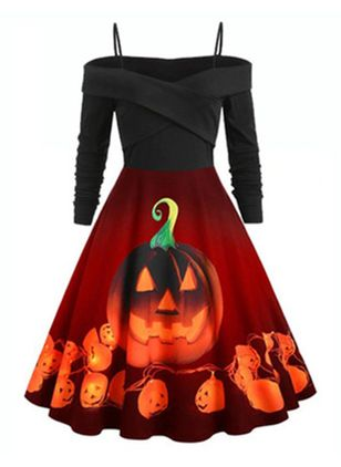 Halloween Color Block Camisole Neckline Midi X-line Dress (109556018)