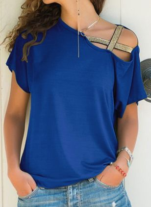 Solid Oblique Neckline Short Sleeve Casual T-shirts (1523526)
