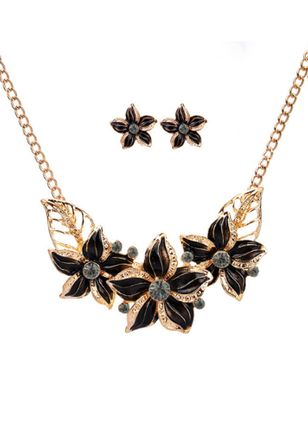 Floral No Stone Necklace Earring Jewelry Sets (111853138)
