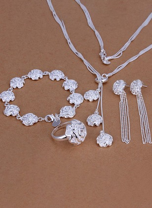 Floral Tassel No Stone Necklace Earring Bracelet Ring Jewelry Sets