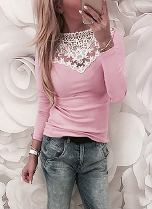 Floral Polyester High Neckline Long Sleeve Blouses