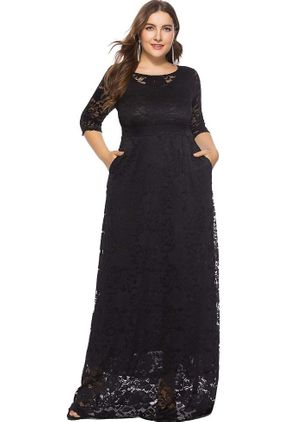 Plus Size Solid Lace 3/4 Sleeves Maxi X-line Dress