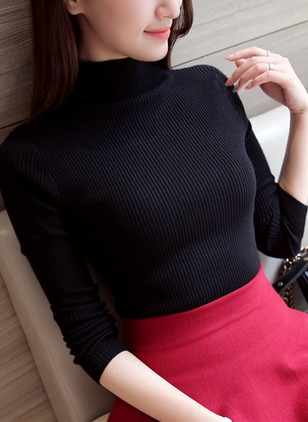 Knitted High Neckline Solid Tight None Sweaters