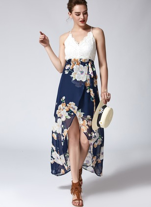 Floral Camisole Neckline Sleeveless Midi A-line Dress