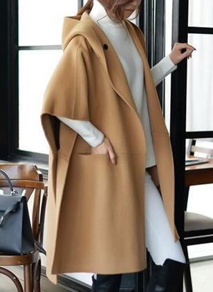 3/4 Sleeves Hooded Buttons Coats Capes