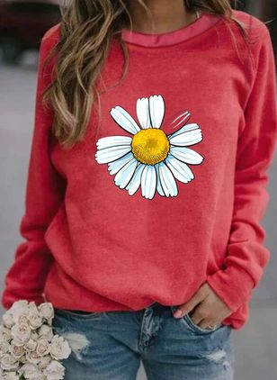 Floral Round Neck Long Sleeve Casual T-shirts (100002365)