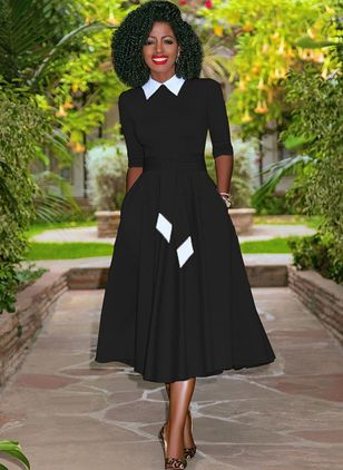 Color Block Pockets Wrap Midi A-line Dress