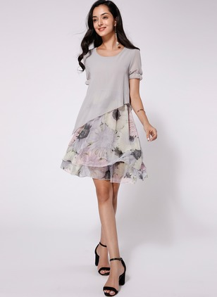 Chiffon Floral Short Sleeve Mid-Calf Casual Dresses  ...