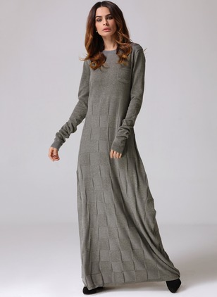 Cotton Solid Long Sleeve Maxi Shift Dress