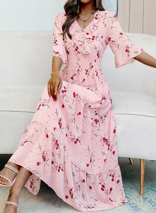 Casual Floral V-Neckline Maxi X-line Dress (4458383)