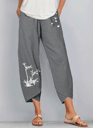 Casual Straight Pockets Mid Waist Polyester Pants (146904752)