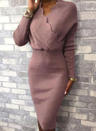 Elegant Solid Pencil V-Neckline Bodycon Dress (146673356)