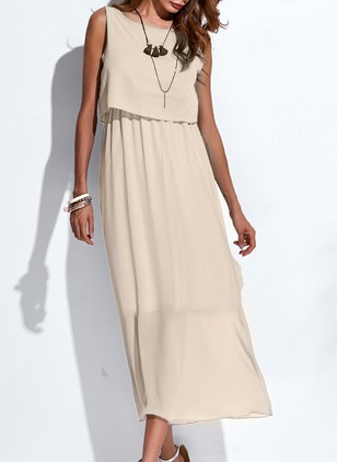 Chiffon Solid Sleeveless Maxi A-line Dress