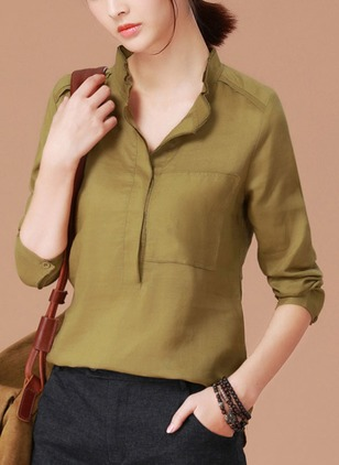 Solid Casual Polyester Collar Half Sleeve Blouses