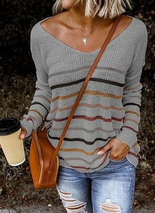 V-Neckline Color Block Casual Loose Regular Shift Sweaters (100772699)