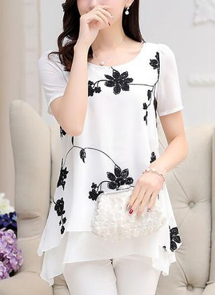 Floral Chiffon Round Neckline Short Sleeve Blouses