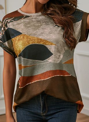 Color Block Round Neck Short Sleeve Summer T-shirts (146964272)