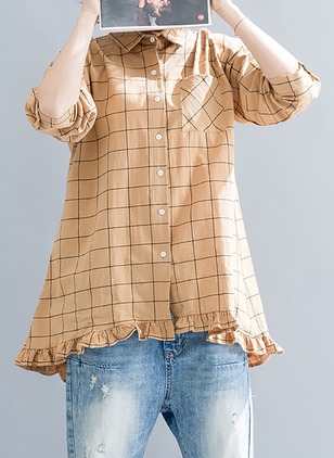 Check Casual Cotton Collar Long Sleeve Blouses