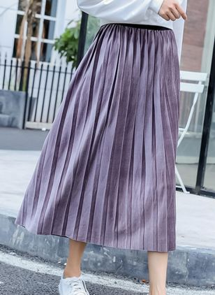 Solid Mid-Calf Casual Ruffles Skirts
