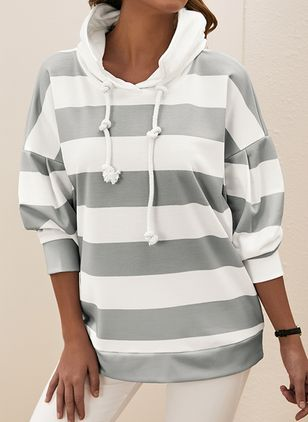 Stripe Casual Round Neckline Long Sleeve Blouses (104147018)