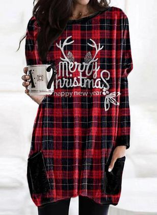 Christmas Geometric Tunic Round Neckline A-line Dress (128229747)